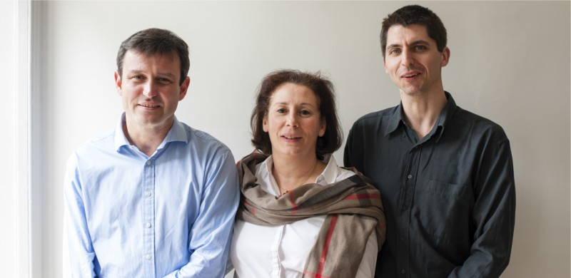 The three co-founders of Cellipse Fabrice Paublant, Dr Laurence Lafanechère, and Dr Renaud Prudent.